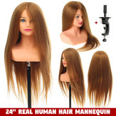 """24 """"100% Real İnsan Saç Manken Başkanı Saçgiyim Eğitim Başlığı + Standı US"""