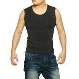 Men Round Neck Waistcoat Warm Heat Holder Thermal Underwear Sleeveless Top Blouse Underclothes