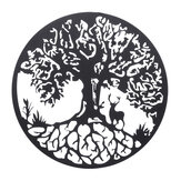 Metal Deer Tree of Life Hanging Wall Art Round Sculpture Home Garden Iron Decorations