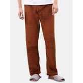 Hommes Automne Hiver Épaisse Couleur Unie Chaud Vêtements De Nuit Flanelle Maison Pantalon