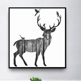 Miico Hand Painted Oil Paintings Simple Style-C Side Face Deer Wall Art For Home Decoration Paintings