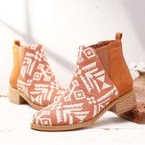Frauen Folkways Printing Stitching Knöchel Stiefel