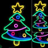 Árvore de Natal Corda LED Luz de néon USB Lamp Party Bar Quarto Decoração de parede