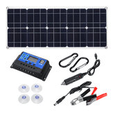100W 18V MonocrystalineSolar Panel Dual 12V/5V DC USB Charger Kit with 10A Solar Controller & Cables