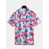 Men Flamingo Leaf Print Short Sleeve Hawaiian Shirts