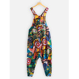 Graffiti Print Pockets Drop Crotch Plus Size Jumpsuit