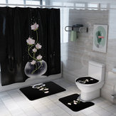 Lotus Printed Shower Curtain Non-Slip Pedestal Rug Lid Toilet Cover Bathroom Mat