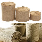 10M Vintage Table Runner Jute Burlap Hessian Ribbons Wedding Party Craft Decor