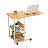 Multifunctional Movable Bedside Laptop Desk Computer Table Study Table Computer Stand with 2 Tiers Storage Shelves Bookshelf
