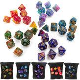 7 adet / takım Çokyüzlü Dices DND RPG MTG Oyunu Zindanlar için & Dragons D4-D20 Renkler Zar