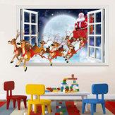 Miico XH7229 Noel Sticker Karikatür Noel Geyik Santa 3D Duvar Sanatı Çıkartmalar Çıkarılabilir