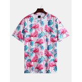 Mens Flamingo Printing Summer Loose T-shirts