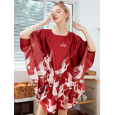 Manga solta Crane Printing Silk Robes Nightgown