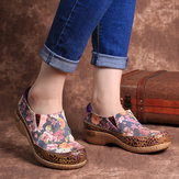 Mulheres Comfy Splicing Retro Stitching Slip On Flats