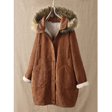 Corduroy Solid Color Plush Hooded Long Sleeve Coats