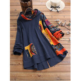 Plus Size Vintage Printed Patchwork Irregular Hooded Blouse