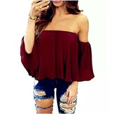 Pure kleur off-shoulder losse chiffon casual blouse