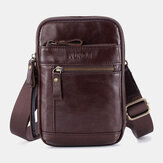 Men Genuine Leather Multi-layer Crossbody Bag Waist Belt Bag Shoulder Bag Phone Bag