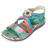 Women Genuine Leather Handmade Flower Retro Summer Sandals