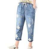 Повседневная цветочная вышивка Синяя джинсовая ткань Джинсы