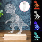 Acrílico USB 3D Dinosaurio LED Escritorio Lámpara Night Light Kid Cartoon Linterna Regalos