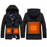 Electric Unisex Heating Hooded Coats Winter Warm Heated Jacket Detachable Cap M-5XL
