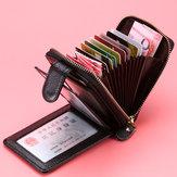 Porte-cartes portefeuille en cuir véritable multi-poches pour hommes