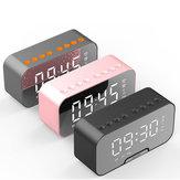 TFカードスロット付きデジタル目覚まし時計BluetoothスピーカーFMラジオLEDミラーテーブル時計時間温度表示家の装飾
