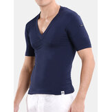 Men Modal Well-absorbent T Shirt V-neck Sleepwear
