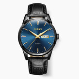 OLEVS 6898 Leather Strap Casual Week Display Quartz Watch