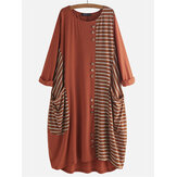 Button Stripe Patchwork Loose Baggy Causal Dress
