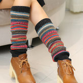 Senshoes Vintage Color Striped Fashion Piles Socken Stiefel Leggings Korean Legs