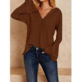 Women Causal V-neck Long Sleeve Blouse Tops