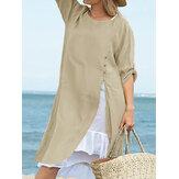 Femmes irrégulière ourlet bouton coton casual lâche longue blouse