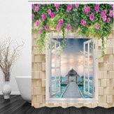180 × 180cm3D waterdicht bad badkamer douchegordijn afdrukken polyester met 12 haak
