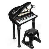 31 مفتاحًا للأطفال ولوحة مفاتيح إلكترونية للأطفال وميكروفون بيانو إلكتروني وبراز هدايا موسيقية