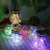 Hanging Solar Powered Crackle Glass Jar Lamp Lantern String Fairy Light Romantic Indoor Outdoor Decoration