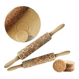 Christmas 3D Flower Wood Rolling Pin Embossing Baking Cookie Biscuit Fondant DIY Baking Tools
