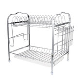 2 Tiers Dish Drying Rack Stainless Steel Over Sink Kitchen Cutlery Bowl Storage Holder