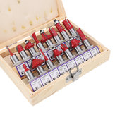 Drillpro 15pcs 1/2 Inch Shank Tungsten Carbide Router Bit Set With Wooden Case Woodworking Cutter