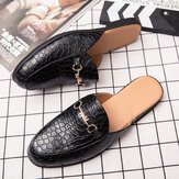 Men Genuine Leather Crocodile Pattern Home Casual Slippers