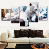 5Pcs White Lion Canvas Print Paintings Wall Art Picture Decoración de la habitación del hogar sin marco