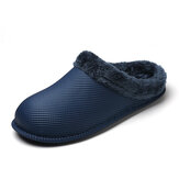 Warm Plush Lining Waterproof Shoeface Daily Casual Slippers