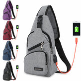 Fashion Canvas Bag Sport Chest Pack USB Charging Crossbody Shoulder Bag