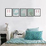 Modern Nordic Rabbit Polar Bear Bear Moon Animal Unframed Wall Art Canvas Painting Prints Poster Cartoon Wall Pictures For Livingroom Baby Kids Room Decor