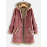 Solid Color Patchwork Hooded Casual Coat