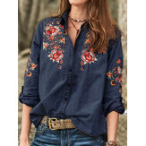 Women Long Sleeve V Neck Buttons Flower Embroidered Shirts