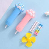 1 Set Kawaii Candy Color Cat Paw Shape Electric Eraser with Refill Fan Pencil Rubber Erasers Painting Drawing Stationery