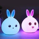DecBest Милый Кролик Night Light Сенсорный Изменение Цвета USB Зарядка LED Лампа Домашний Декор