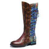 SOCOFY Kvinder Mønster Læder Syning Comfy Mid Calf Boots